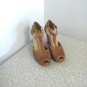 Frye Gwen Woven Leather Wedge Sandals